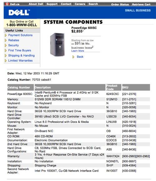 Elections PEI Server Specs, 2004