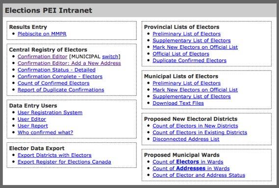 Elections PEI Intranet Screenshot, circa 2011