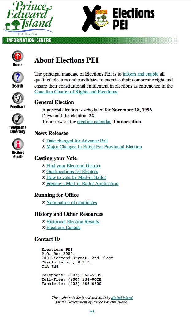 Elections PEI Website Screenshot, October 27, 1996 (from Archive.org)