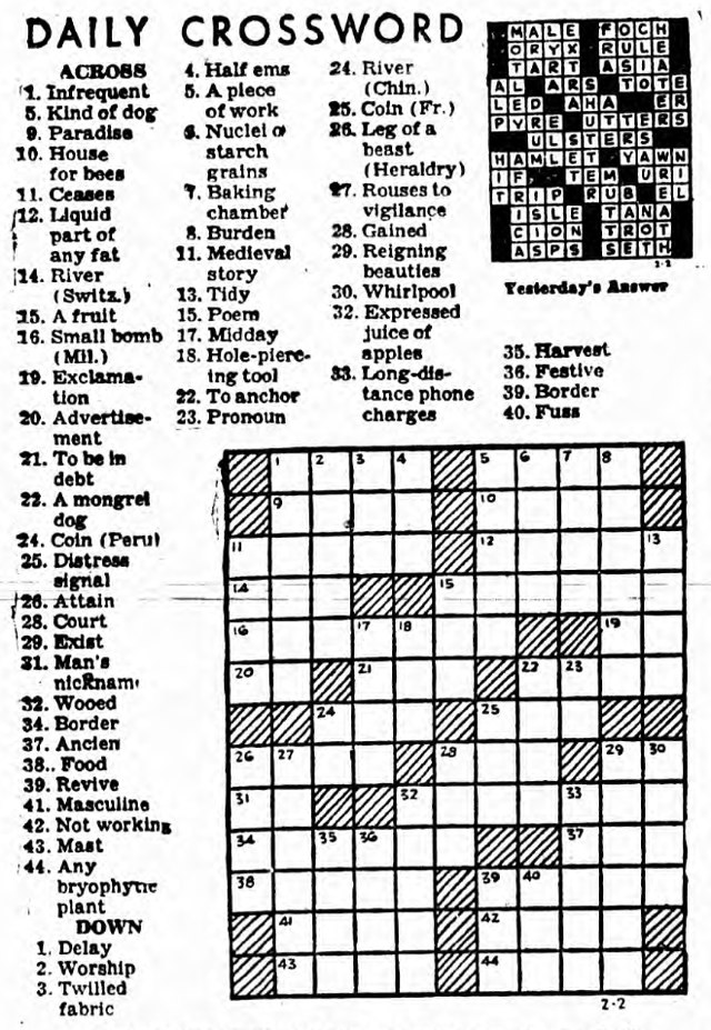 The Guardian Daily Crossword, February 3, 1949