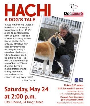 Hachi Poster for Charlottetown, May 24, 2014.