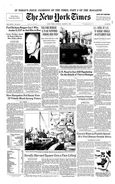 New York Times front - March 2, 1980