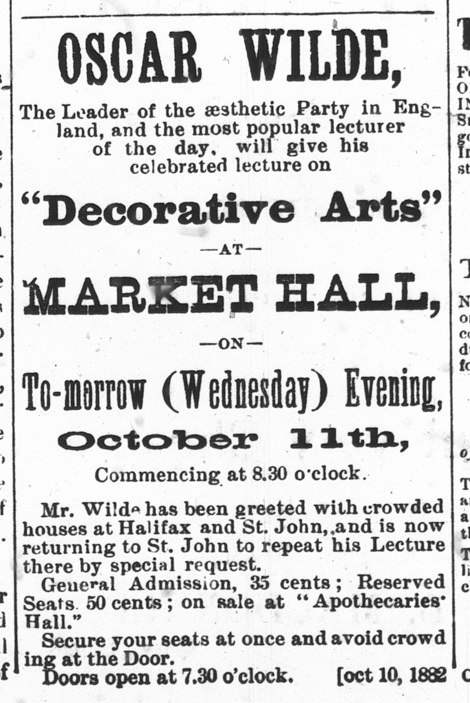 Oscar Wilde in Charlottetown - Daily Patriot Ad - Oct 11, 1882