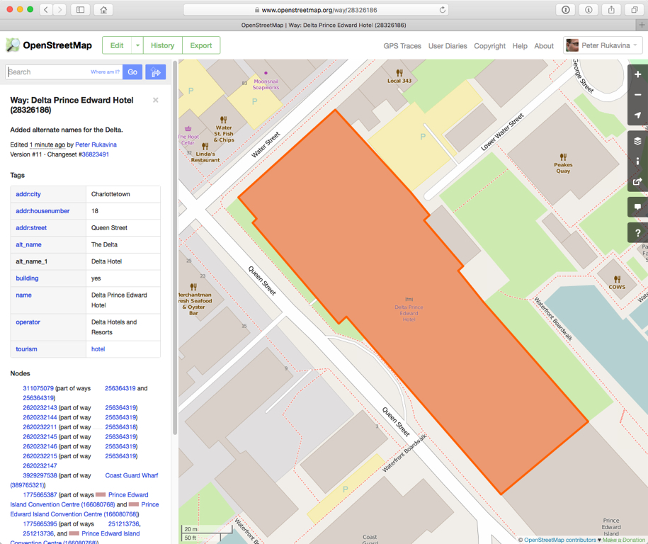 The Delta Hotel on OpenStreetMap