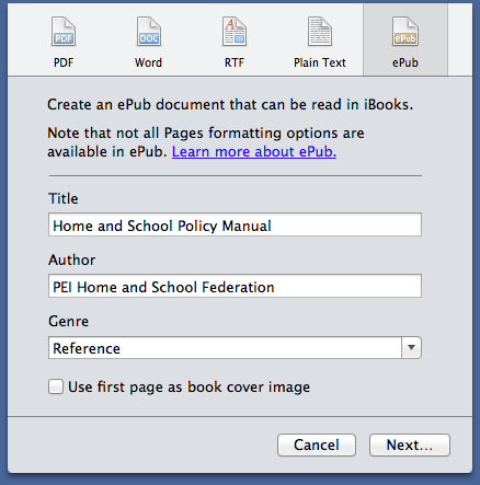Screen shot from Mac Pages app showing ePub export