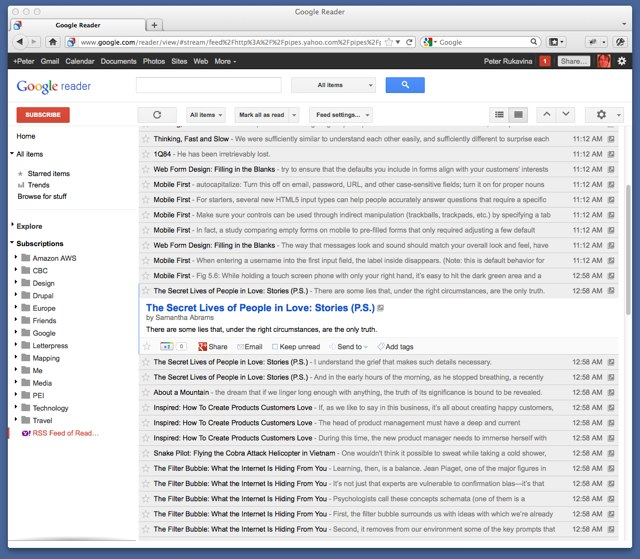 Google Reader showing my Readmill RSS Feed