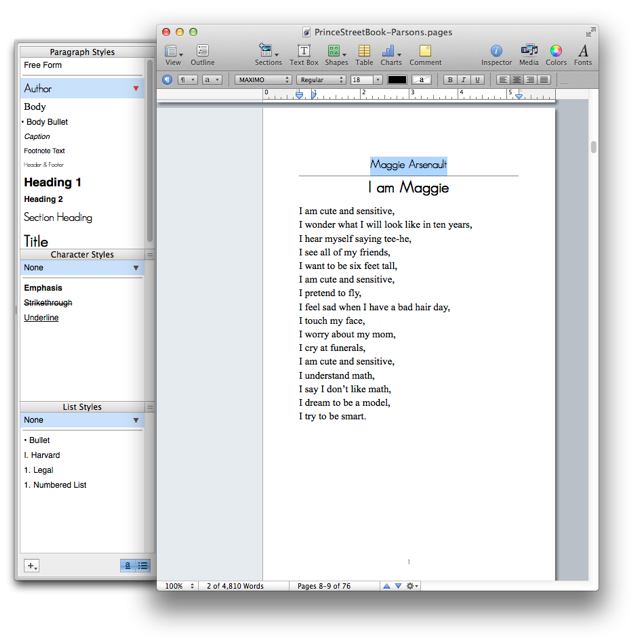 Styles in the Pages word processor.
