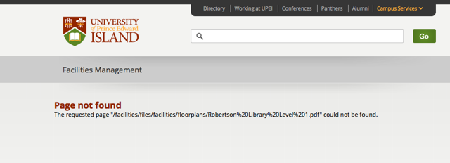 UPEI Page not Found