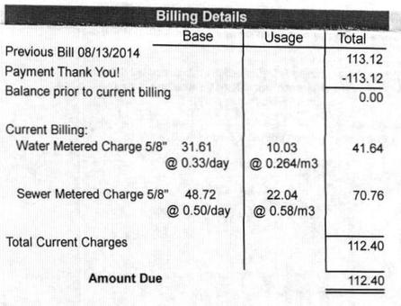 Water bill excerpt, November 2014, 100 Prince Street