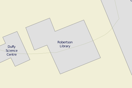 Old Robertson Library polygon in OpenStreetMap.