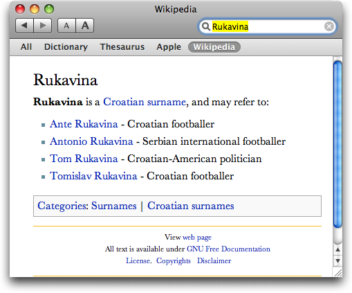 Apple Dictionary Application searching Wikipedia Screen Shot