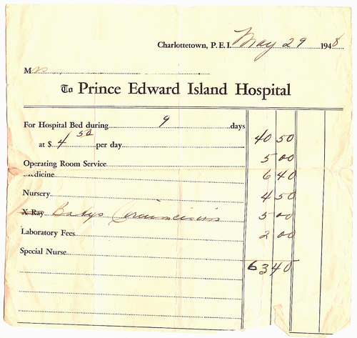 Bill for a Birth in Prince Edward Island in 1948