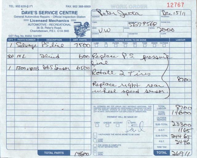 Dave's Service Centre Receipt