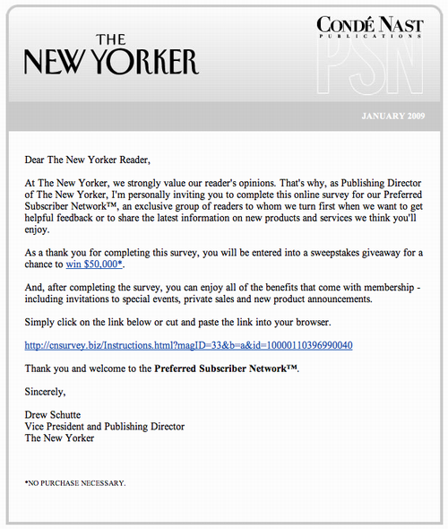 Email from The New Yorker