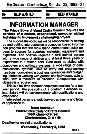 Classified Ad from The Guardian for Information Manager, January 1993