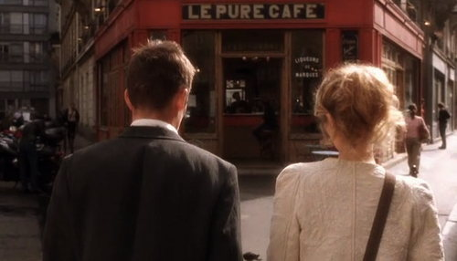 Ethan Hawke and Julie Delpy enter Le Pure Cafe in Before Sunset