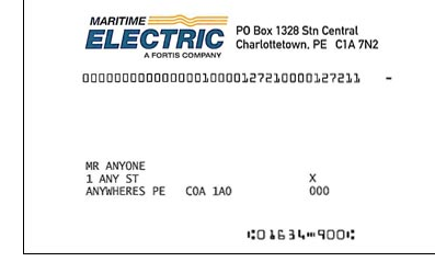 Maritime Electric Sample Bill Snipping