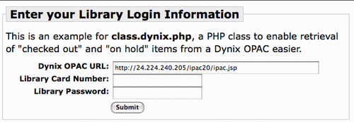 Entering OPAC URL, username and password screen shot