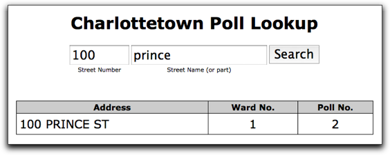 Poll Lookup Screen Shot