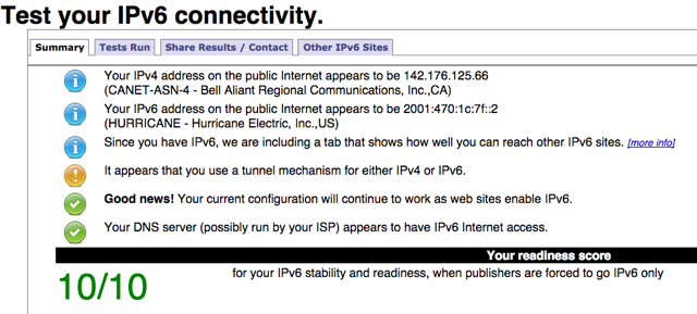 Test you IPv6 Connectivity