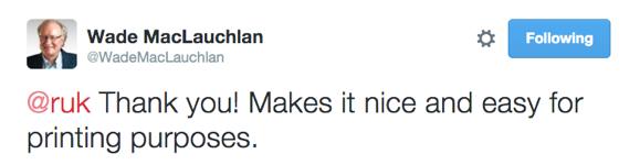 Hon. Wade MacLauchlan responds to my tweet with a tweet.