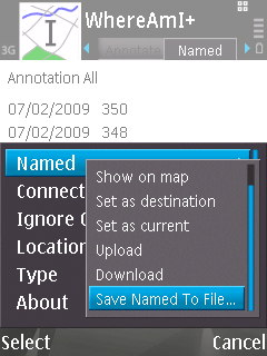 WhereAmI running on a Nokia N95