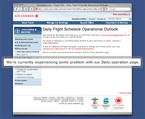 Screen Shot of Air Canada Daily Flight Schedule Operational Outlook