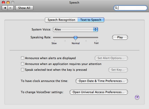 OS X Speech Preferences Screen Shot shoing 'Alex' voice selected