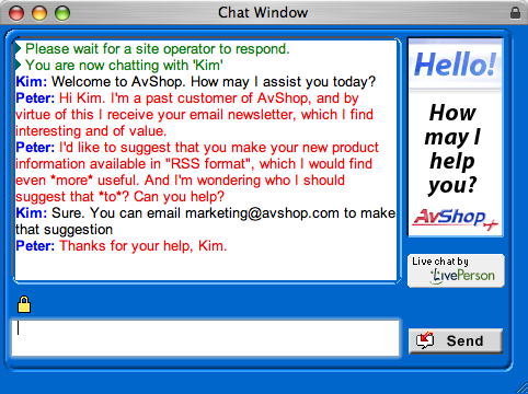 Chat with Kim at AVShop about RSS