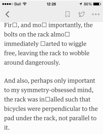 Feedly on mobile showing (not) ligatures