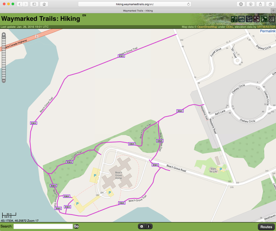 Beach Grove Trail in OpenStreetMap