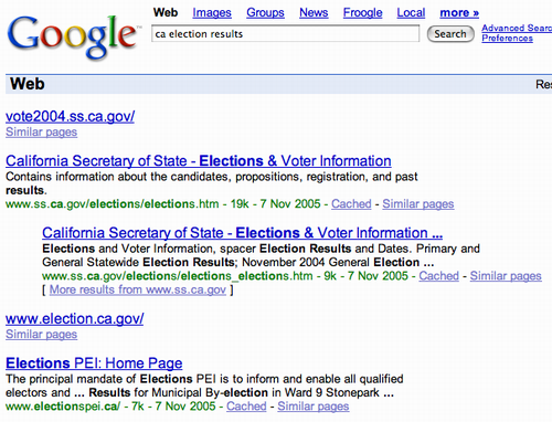 Google search for 'CA Election Results' on Nov. 9, 2005