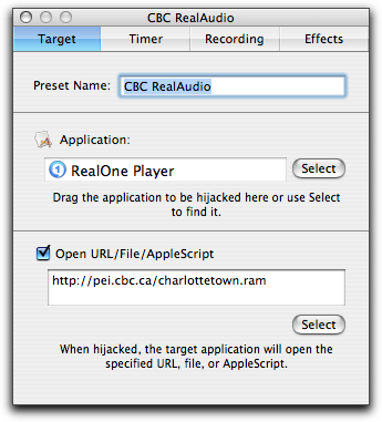 CBC stream recording with Audio Hijack, Step One