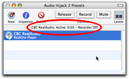 CBC stream recording with Audio Hijack, Step Four