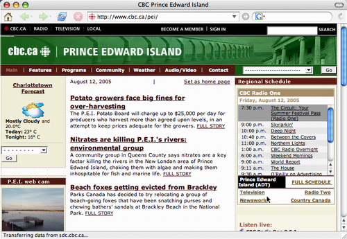 CBC Screen Shot Two