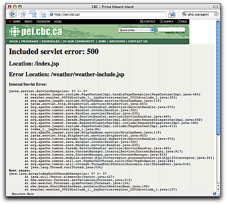 Screen Shot of CBC website showing horrible Java error