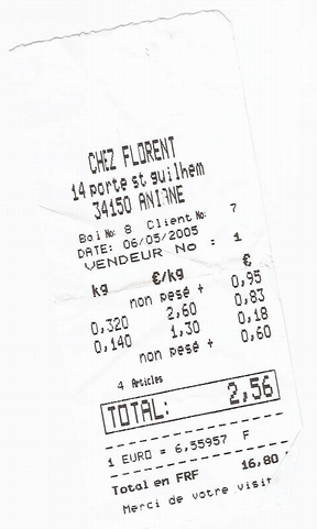Receipt from Chez Florent, Aniane, France