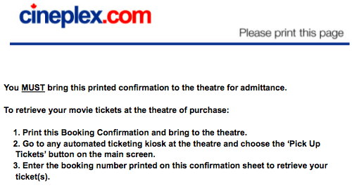 Detail from Cineplex website confirmation screen after ordering tickets