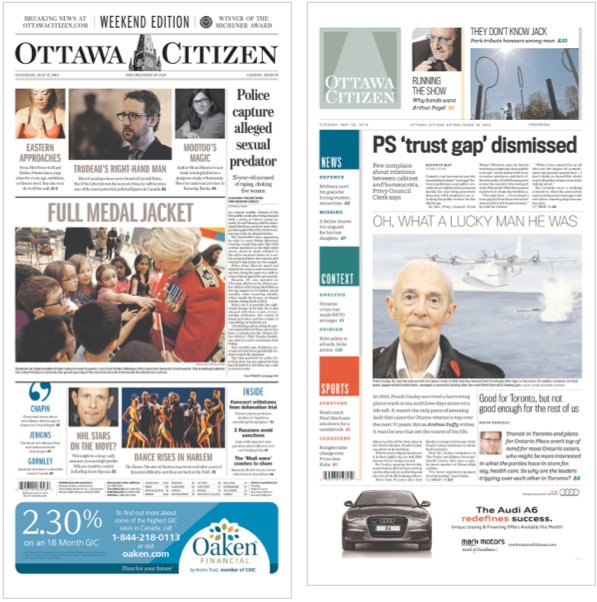 Ottawa Citizen Cover: before and after redesign