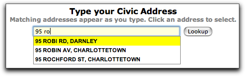 Civic Address Lookup Screen Snip