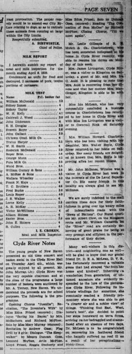 Clyde River Notes from April 10, 1929 in The Guardian