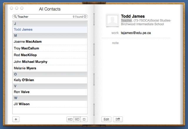 Contacts App Screen Shot