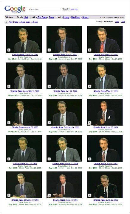 Charlie Rose Google Video Search Screen Shot