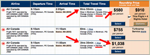 Air Canada Fare Grid on Travelocity