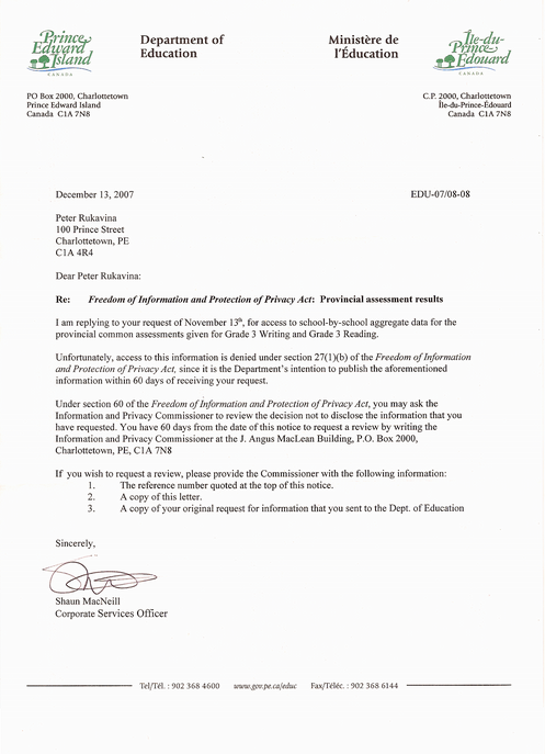 Letter in Response to my FOIPP request to the PEI Department of Education