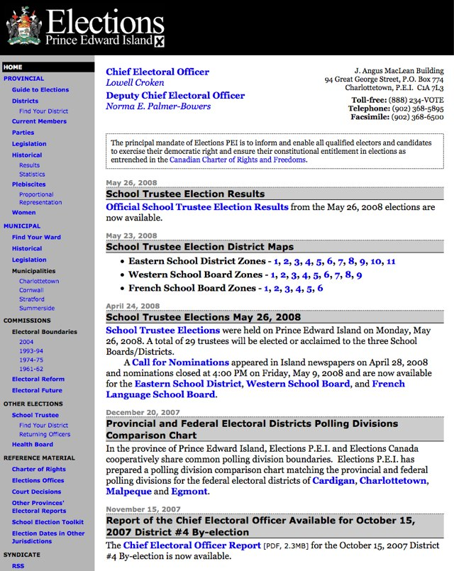 Elections PEI Website Front Page Screenshot, 2008 (from Archive.org)