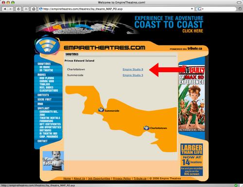 Empire Theatres Website
