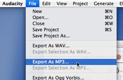 Export as an MP3 from Audacity