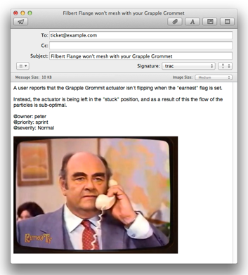 Screen shot of emailing a ticket to Trac