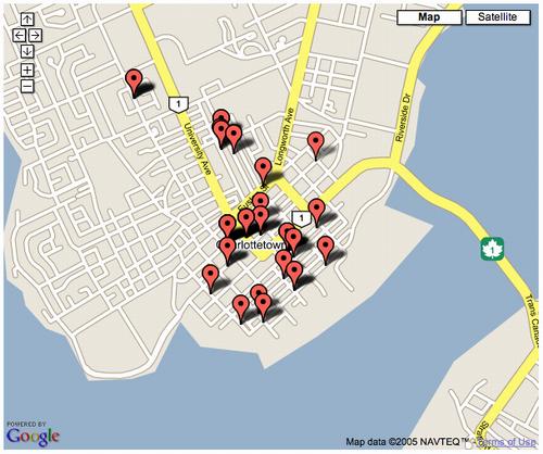 Google Maps API-created map